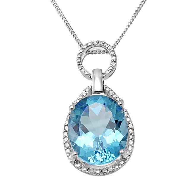 Hollywood Retro Silver Blue Topaz and 1/5ct TDW Diamond Necklace (I-J, I1-I2)