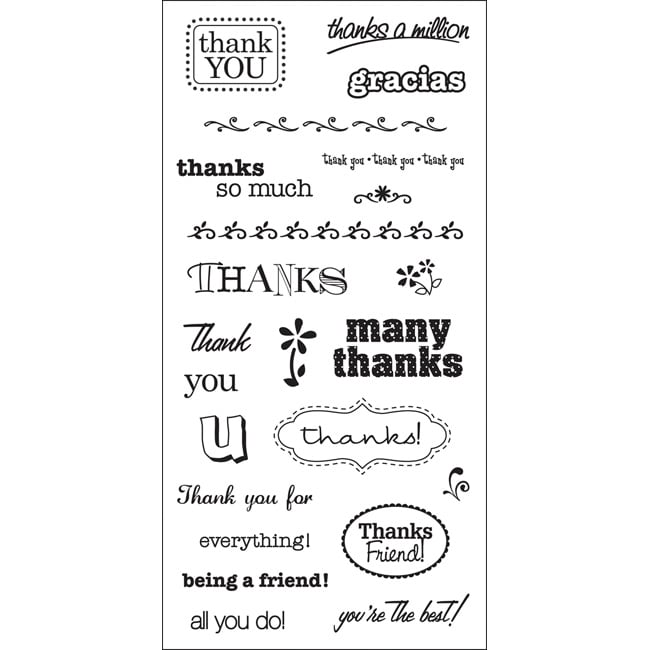 Fiskars Simple Stick Cling Grateful Rubber Stamps