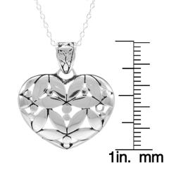Sunstone Sterling-silver Bali Heart Pendant Necklace with Cable Chain