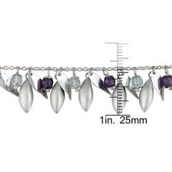 Miadora 14k White Gold Amethyst and Blue Topaz Bead Necklace - Thumbnail 2