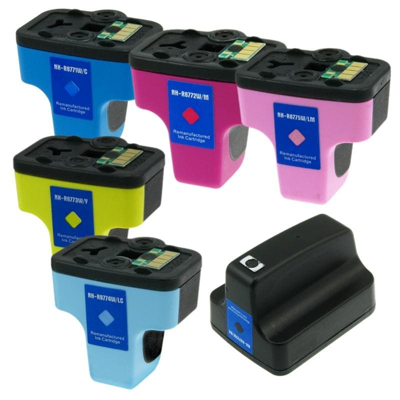 HP 02 Black/Color Ink Cartridge Set (Remanufactured) (Pack of 6) - Thumbnail 0