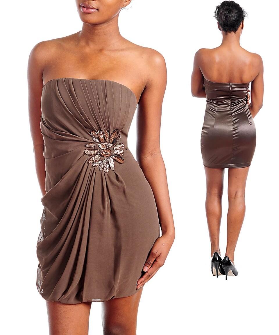 Stanzino Women's Brown Pleated Bodice Strapless Dress