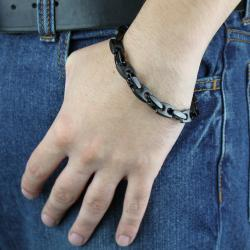 West Coast Jewelry Black-plated Stainless Steel Men's 8.5-inch Link Bracelet - Thumbnail 2