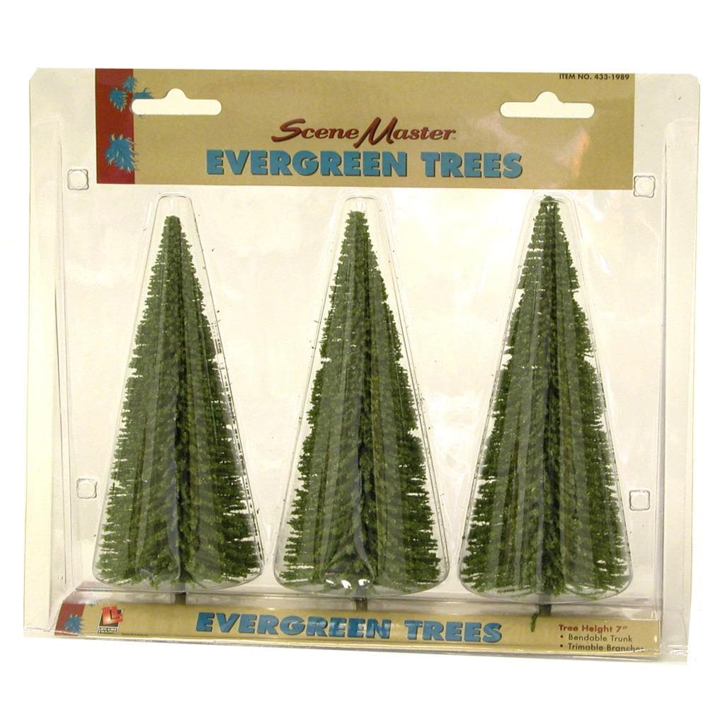 HO Scale 7-inch Evergreen Trees (Pack of 3)