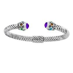 Silver Amethyst/ Multi-gemstone Hinged Cable Cuff Bracelet (Indonesia)