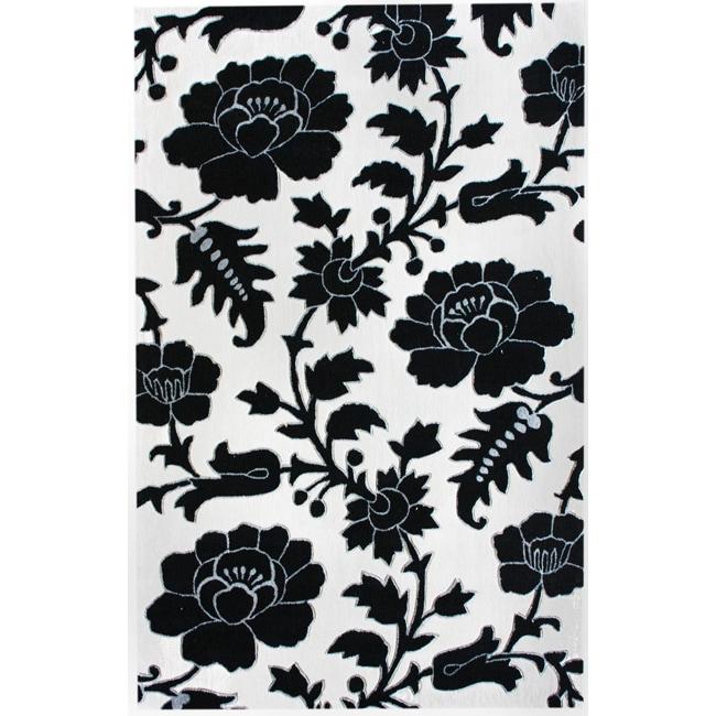 nuLOOM Handmade Deco Floral Black/ White Rug (5' x 8')