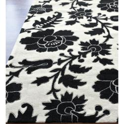 nuLOOM Handmade Deco Floral Black/ White Rug (5' x 8') - Thumbnail 1