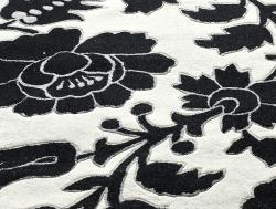 nuLOOM Handmade Deco Floral Black/ White Rug (5' x 8') - Thumbnail 2