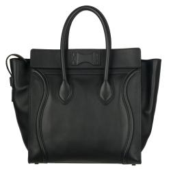 Celine Black Leather Luggage Tote Bag