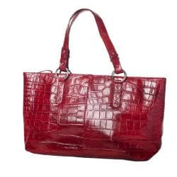 Michael Rome Patent Croco-embossed Leather Tote Bag