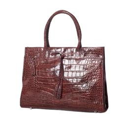 Michael Rome Patent Croco-embossed Leather Tassel Tote Bag - Thumbnail 1