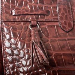 Michael Rome Patent Croco-embossed Leather Tassel Tote Bag - Thumbnail 2