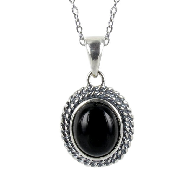 Sunstone Sterling Silver Black Agate Roped Edge Necklace