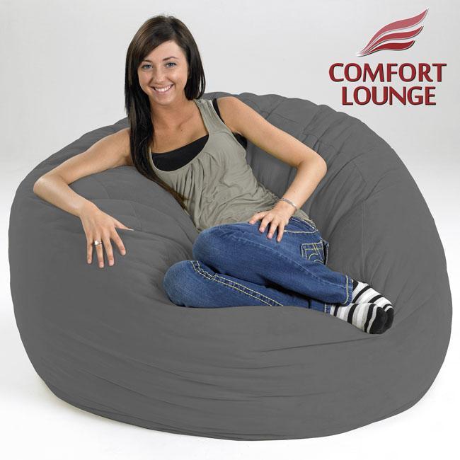 Comfort Lounge Charcoal Medium-size Memory Foam Lounge Bag