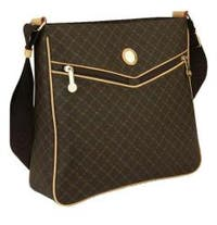 RIONI Brown Monogrammed Canvas Messenger Bag