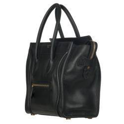Celine Micro Black Leather Luggage Bag Tote