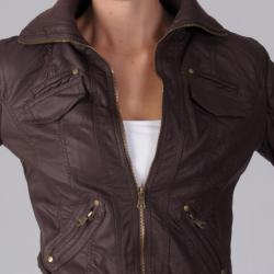 Ci Sono by Journee Junior's Ribbed Collar Faux Leather Jacket - Thumbnail 2