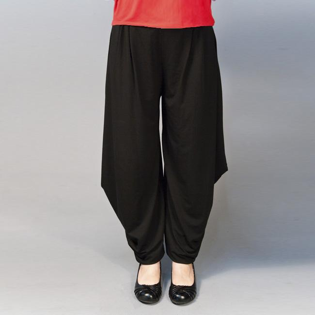 AtoZ Women's Black Folded Hem Harem Pants