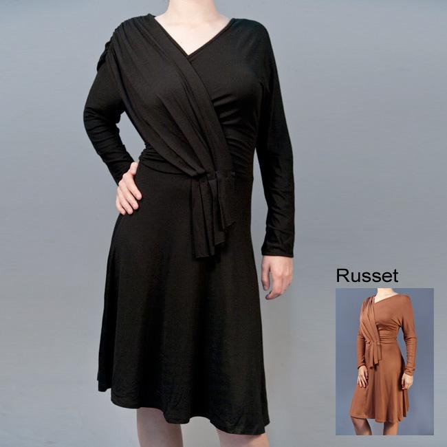 AtoZ Womens Draped Long sleeve Dress
