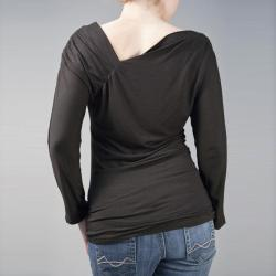 AtoZ Women's Asymmetrical Neck Long-Sleeve Top