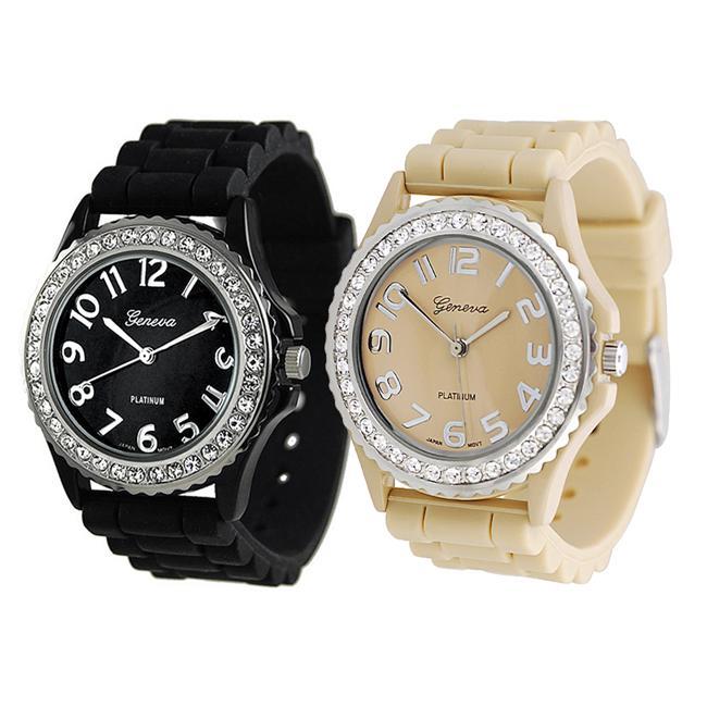 Geneva Platinum Women's Rhinestone-Accented Tan/Black Silicone Watch (Set of 2)