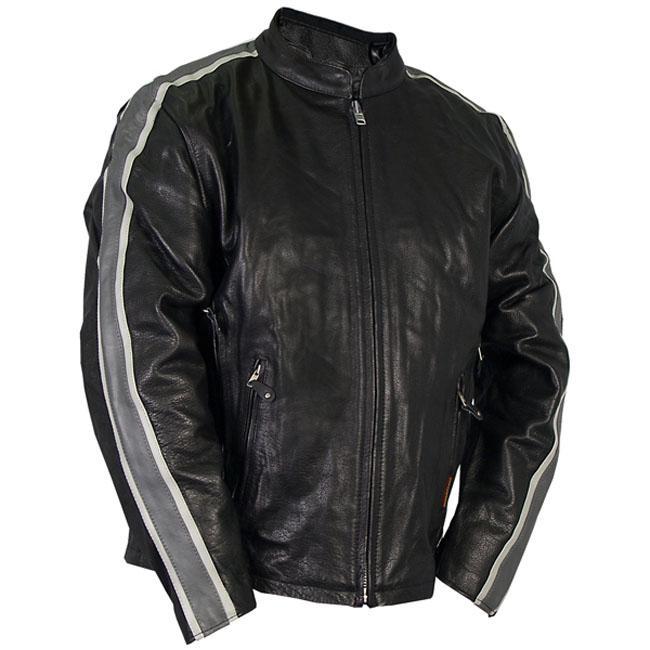 Leather Men's Grey Arm Stripes Motorcycle Jacket