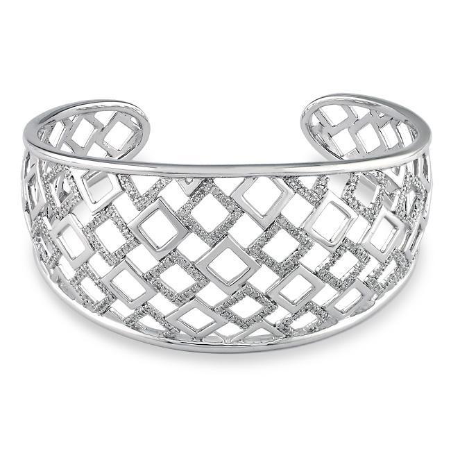 Miadora Sterling Silver 3/4ct TDW Diamond Open Square Cuff Bracelet