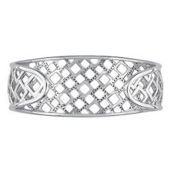 Miadora Sterling Silver 3/4ct TDW Diamond Open Square Cuff Bracelet - Thumbnail 1