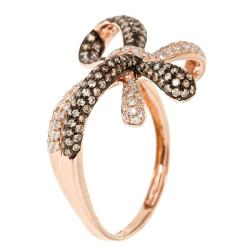 D'Yach 14k Rose Gold 7/8ct TDW Brown and White Diamond Bow Cocktail Ring (G-H, I1-I2) - Thumbnail 1