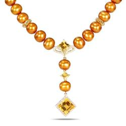 Miadora Yellow Silver Citrine, Golden FW Pearl and CZ Necklace (9-9.5 mm)
