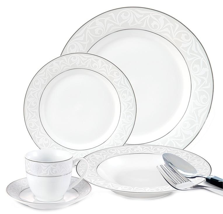 Lorenzo 20-piece Porcelain Silver/ White Dinnerware Set
