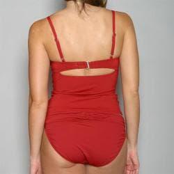 Jantzen Women's Red Underwire Pleated Tankini