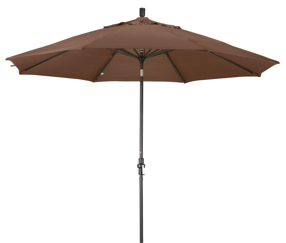 Aluminum 11-ft Teak Patio Umbrella with Sunbrella