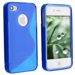 Blue TPU Case/ Screen Protector for Apple iPhone 4 - Thumbnail 1