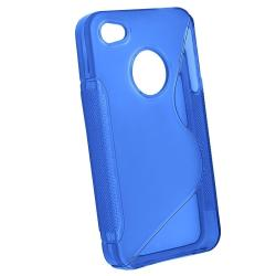 Blue TPU Case/ Screen Protector for Apple iPhone 4 - Thumbnail 2