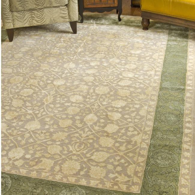 Safavieh Handmade Silk Road Ivory/ Sage New Zealand Wool Rug - 7'6 x 9'6