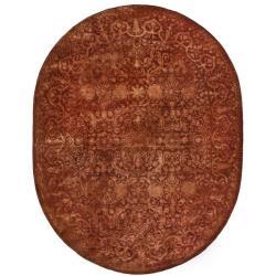Safavieh Handmade Silk Road Rust New Zealand Wool Rug (7'6 x 9'6 Oval)