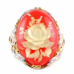 Michael Valitutti Two-tone Carved Rose Amber and Orange Sapphire Ring