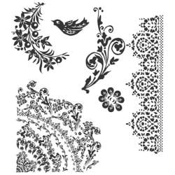 Tim Holtz Floral Tattoo Cling Rubber Stamp Set