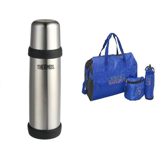 Thermos 16-oz Vacuum Insulated Beverage Bottle with Russell Athletic 3-pc Work-out Set
