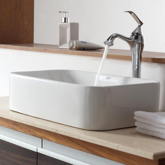 Shop Kraus Soft Rectangular Ceramic Vessel Sink In White With Ventus Faucet In Chrome Free