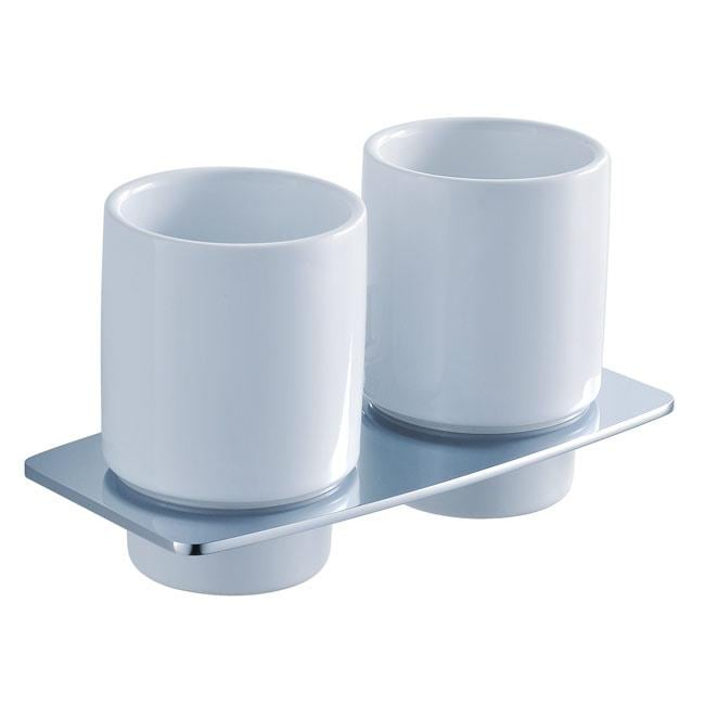 Kraus Fortis Wall-mounted Double Ceramic Tumbler Holder - Thumbnail 0