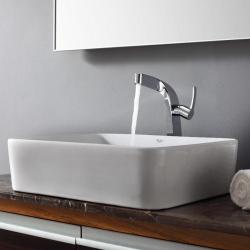 KRAUS Rectangular Ceramic Vessel Sink in White with Typhon Faucet in Chrome