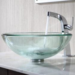 KRAUS 19 mm Thick Glass Vessel Sink with Typhon Faucet in Chrome