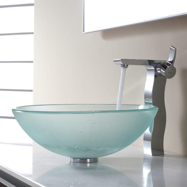 KRAUS Frosted Glass Vessel Sink in Clear with Virtus Faucet in Brushed ...