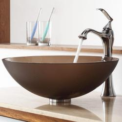 Kraus Frosted Brown Glass Vessel Sink and Ventus Faucet