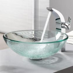 Kraus Clear Glass Vessel Sink and Illusio Faucet