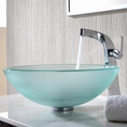 KRAUS Frosted Glass Vessel Sink in Clear with Typhon Faucet in Chrome