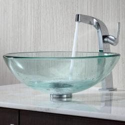 Kraus Clear Glass Vessel Sink and Typhon Faucet
