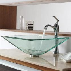 KRAUS Square Glass Vessel Sink in Clear with Ventus Faucet in Chrome